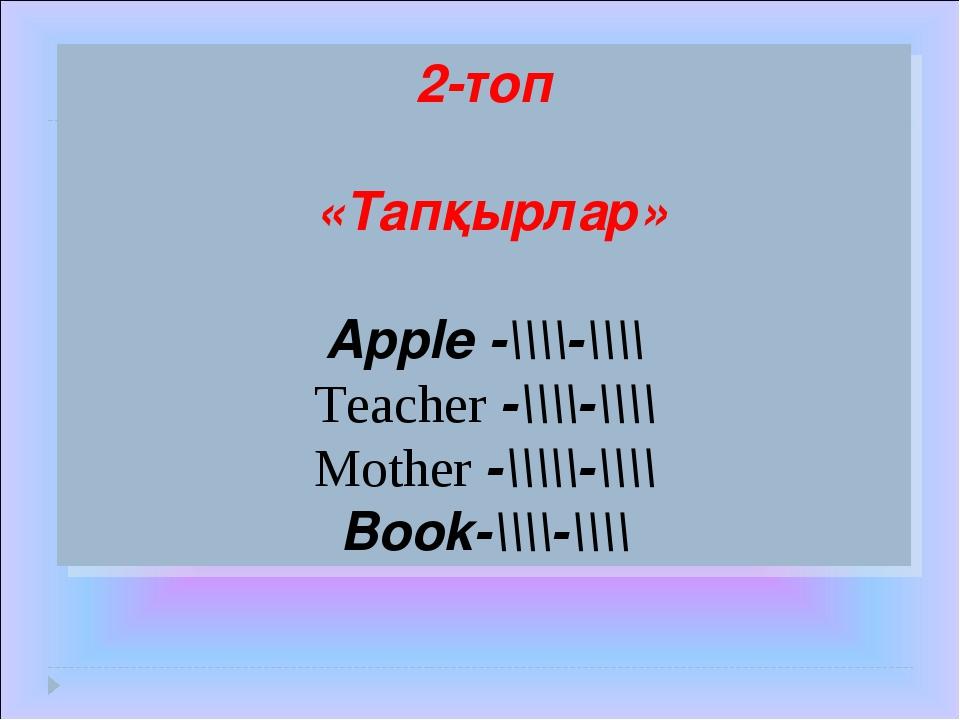 2-топ «Тапқырлар» Apple -\\\\-\\\\ Teacher -\\\\-\\\\ Mother -\\\\\-\\\\ Book...