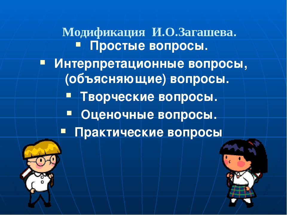 Модификация И.О.Загашева. Простые вопросы. Интерпретационные вопросы, (объяс...