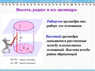 Высота, радиус и ось цилиндра. Радиусом цилиндра наз. радиус его основания. В