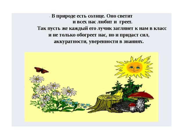 -В природе есть солнце. Оно светит и всех нас любит и греет. Так пусть же каж...