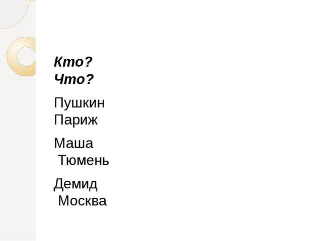 Кто?                          Что? Пушкин     ...