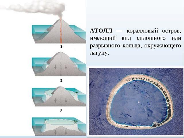 АТОЛЛ — коралловый остров, имеющий вид сплошного или разрывного кольца, окруж...
