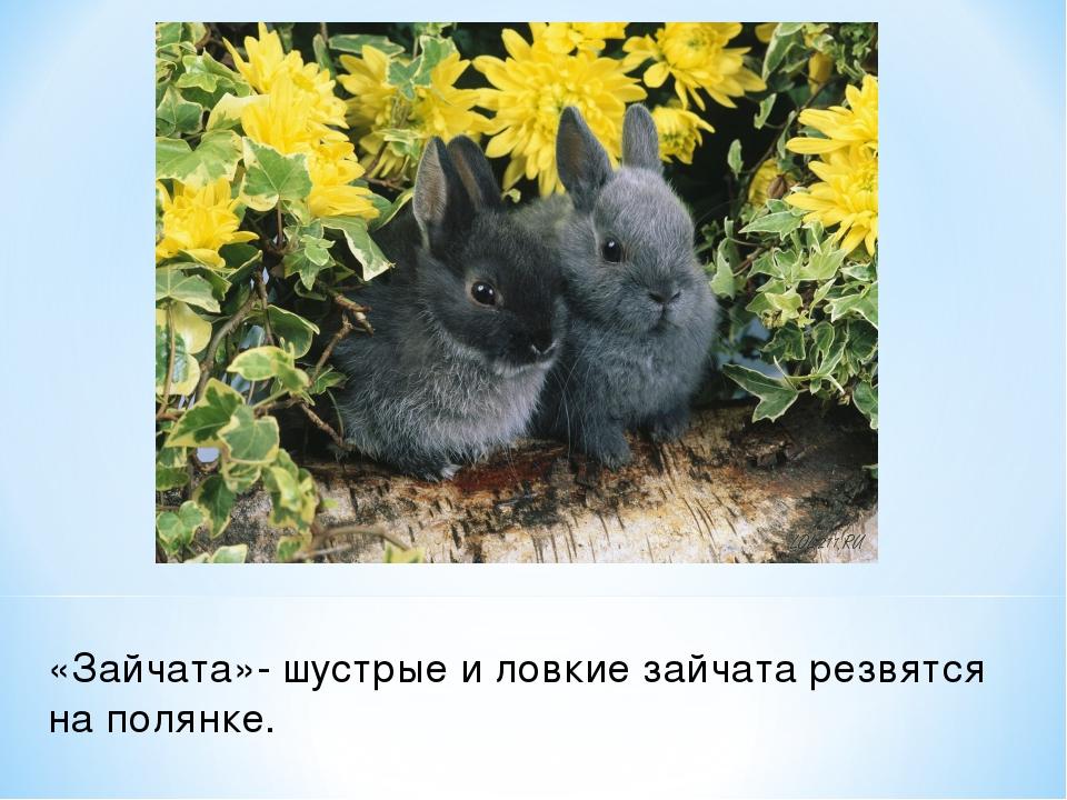 «Зайчата»- шустрые и ловкие зайчата резвятся на полянке.
