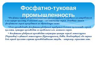 Фосфатно-туковая промышленность ориентируется в основном на потребителя и на