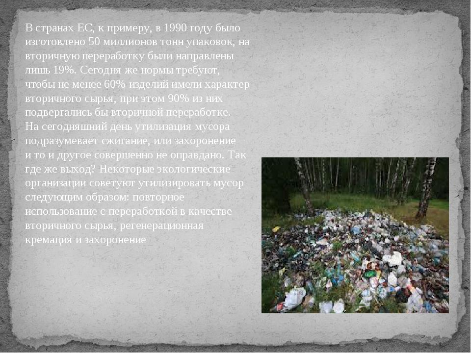 В странах ЕС, к примеру, в 1990 году было изготовлено 50 миллионов тонн упако...