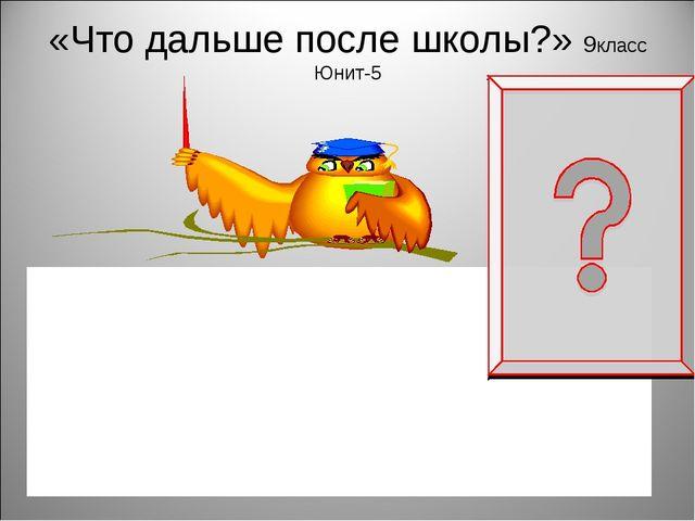 «Что дальше после школы?» 9класс Юнит-5 Are you going to apply to university?...