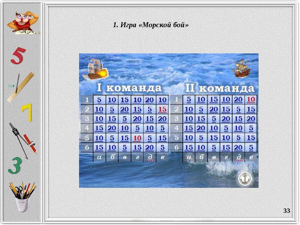 * 1. Игра «Морской бой»