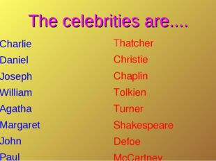 The celebrities are.... Charlie Daniel Joseph William Agatha Margaret John Pa