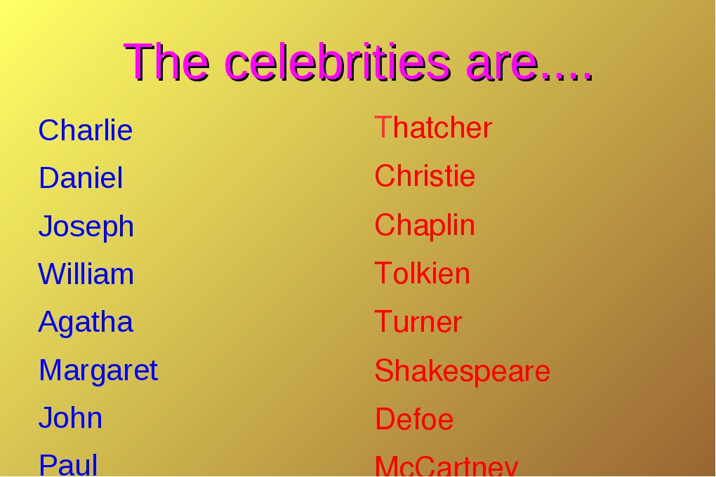 The celebrities are.... Charlie Daniel Joseph William Agatha Margaret John Pa...