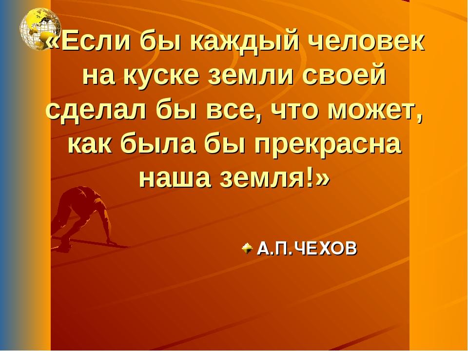 «Если бы каждый человек на куске земли своей сделал бы все, что может, как бы...