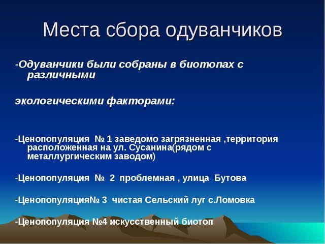 Места сбора одуванчиков -Одуванчики были собраны в биотопах с различными экол...