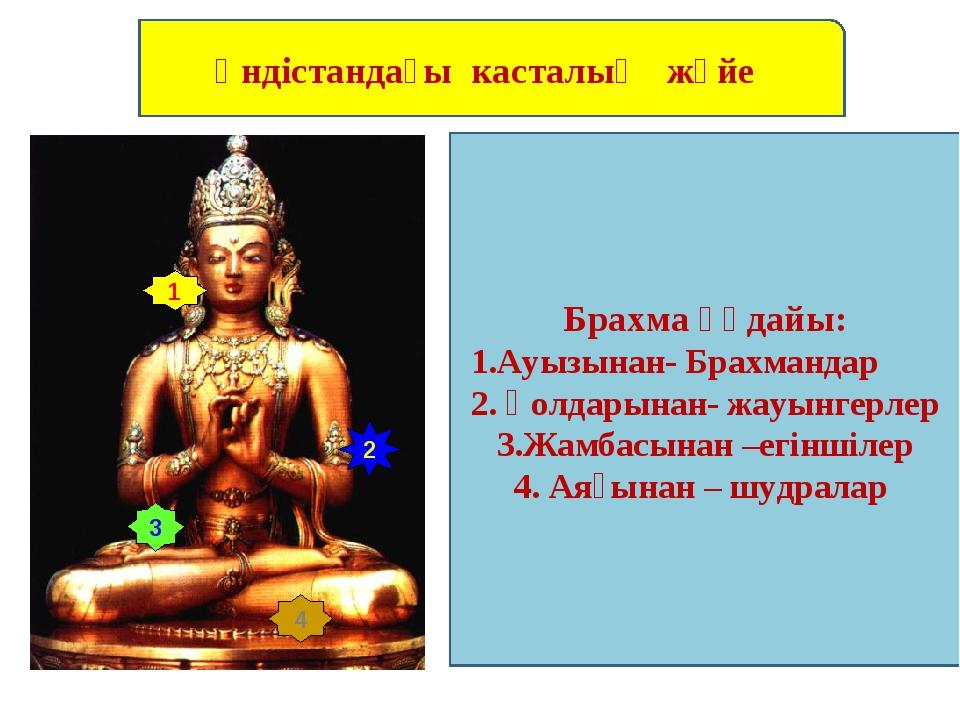 Үндістандағы касталық жүйе 1 2 3 4 Брахма қүдайы: 1.Ауызынан- Брахмандар 2. Қ...