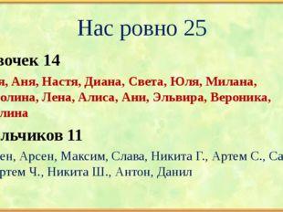 Нас ровно 25 Девочек 14 Катя, Аня, Настя, Диана, Света, Юля, Милана, Полина,