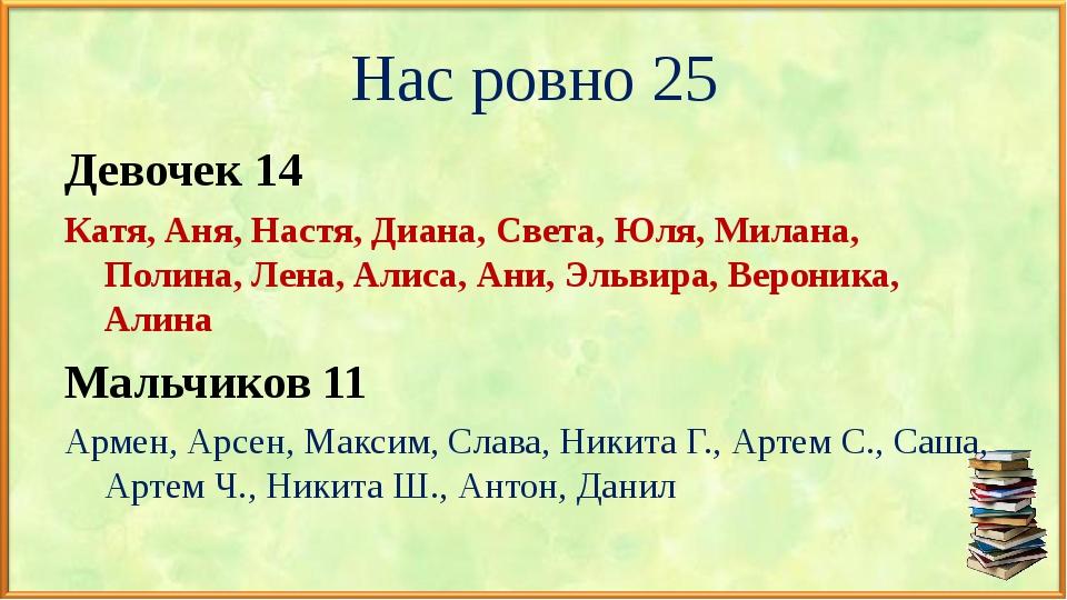 Нас ровно 25 Девочек 14 Катя, Аня, Настя, Диана, Света, Юля, Милана, Полина,...