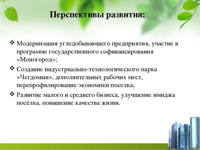Перспективы развития: Модернизация угледобывающего предприятия, участие в про...