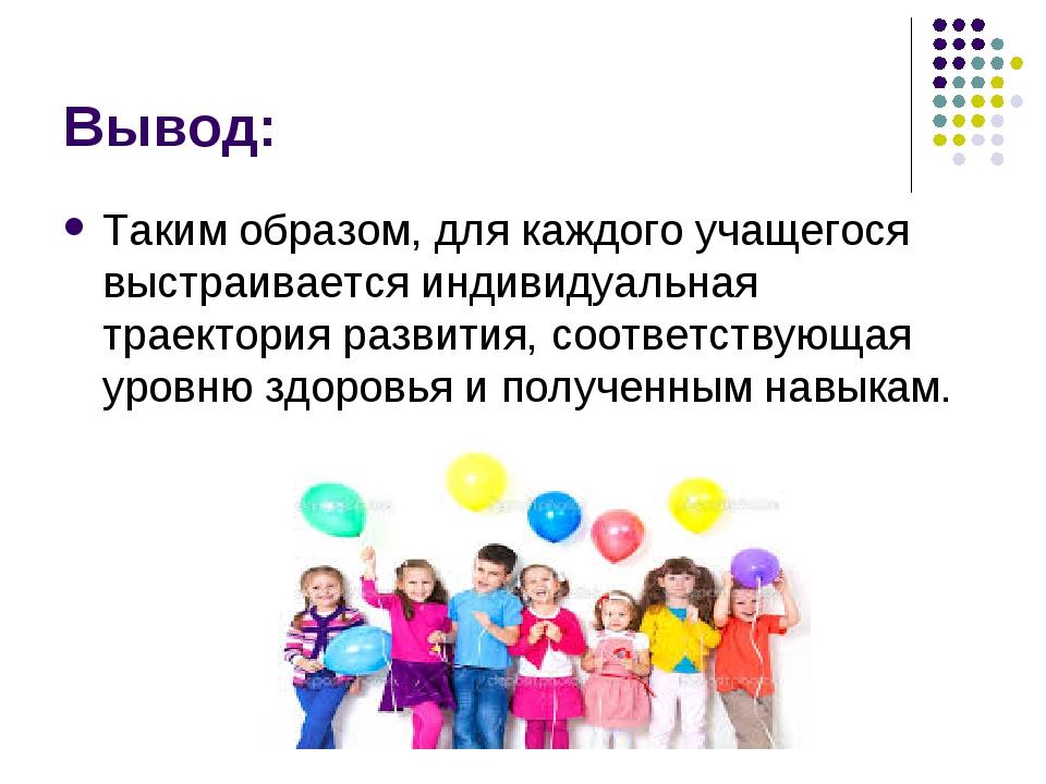 Вывод: Таким образом, для каждого учащегося выстраивается индивидуальная трае...