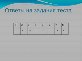 Ответы на задания теста 1 2 3 4 5 6 7 8 - + + - - - + +