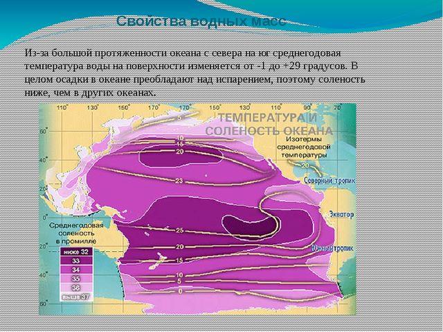 Свойства водных масс Из-за большой протяженности океана с севера на юг средне...