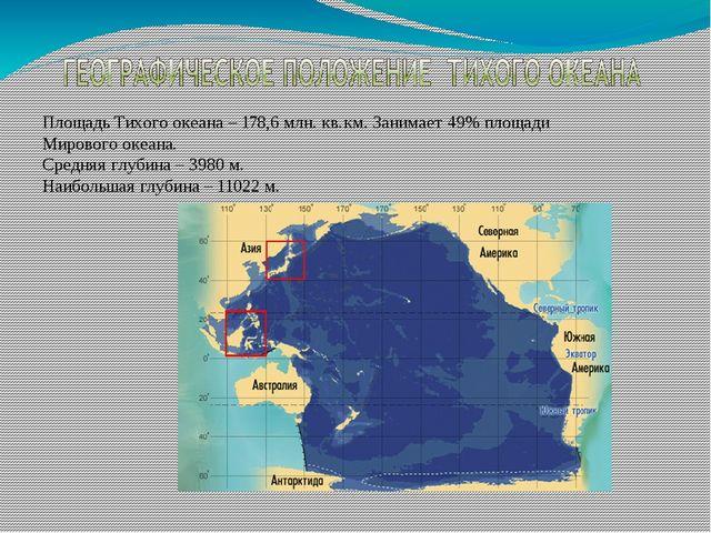 Площадь Тихого океана – 178,6 млн. кв.км. Занимает 49% площади Мирового океан...