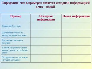 Определите, что в примерах является исходной информацией, а что – новой. Прим