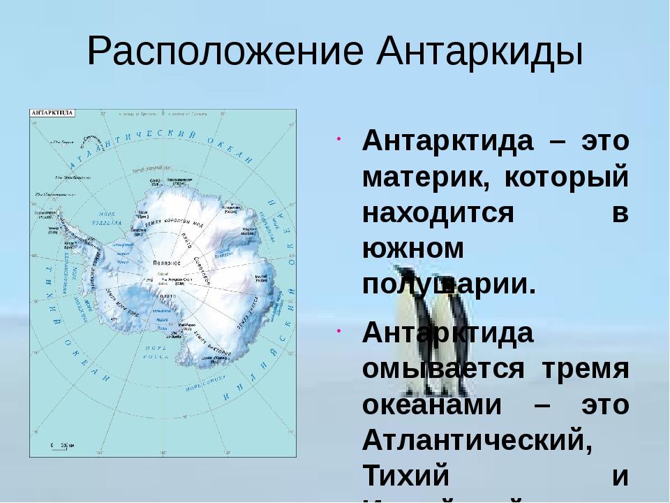 Расположение Антаркиды Антарктида – это материк, который находится в южном по...