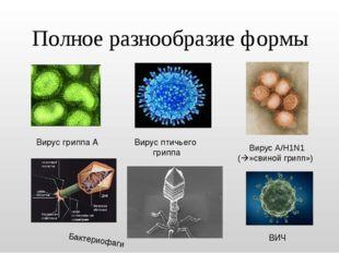 Полное разнообразие формы Вирус гриппа А Вирус птичьего гриппа ВИЧ Вирус A/H1