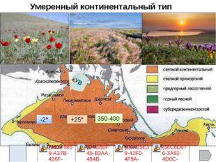 Умеренный континентальный пояс Субтропический средиземноморский пояс (ЮБК) К