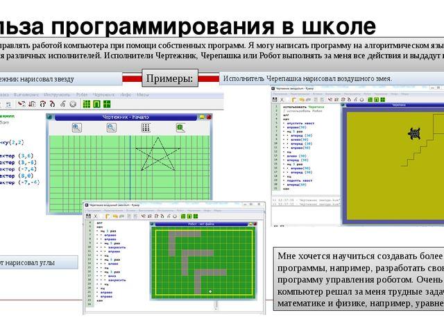 Польза программирования в школе Мне нравится управлять работой компьютера при...
