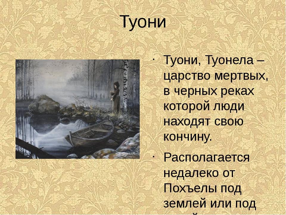 Туони Туони, Туонела – царство мертвых, в черных реках которой люди находят с...