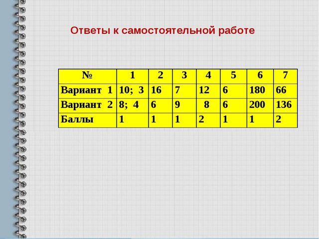 Ответы к самостоятельной работе №1234567 Вариант 110; 316712618...