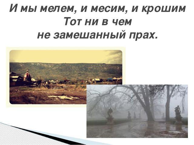 И мы мелем, и месим, и крошим Тот ни в чем не замешанный прах.