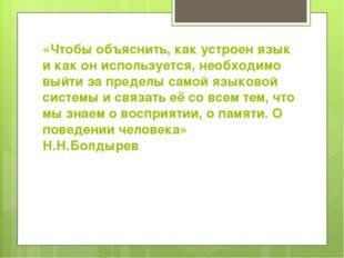 «Чтобы объяснить, как устроен язык и как он используется, необходимо выйти за