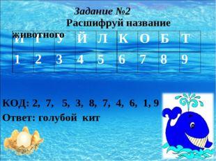 КОД: 2, 7, 5, 3, 8, 7, 4, 6, 1, 9 Ответ: голубой кит Задание №2 Расшифруй на