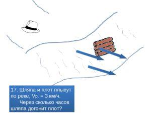 17. Шляпа и плот плывут по реке, Vр. = 3 км/ч. Через сколько часов шляпа дог