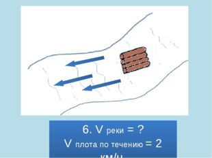6. V реки = ? V плота по течению = 2 км/ч.