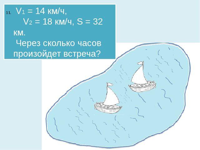 V1 = 14 км/ч, V2 = 18 км/ч, S = 32 км. Через сколько часов произойдет встреча?