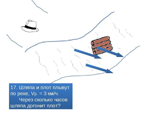 17. Шляпа и плот плывут по реке, Vр. = 3 км/ч. Через сколько часов шляпа дог...