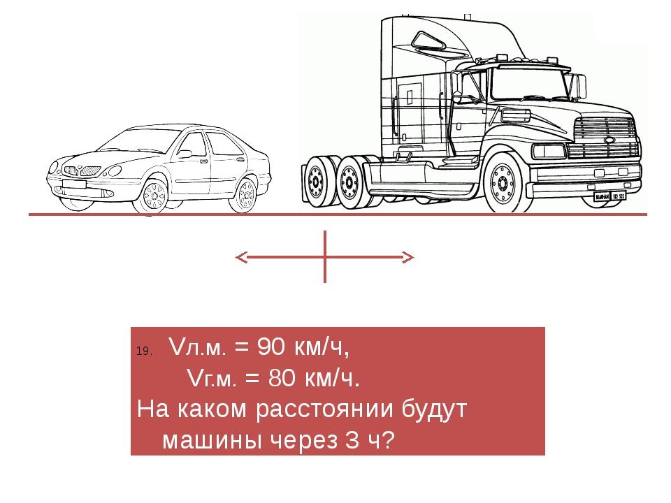 Vл.м. = 90 км/ч, Vг.м. = 80 км/ч. На каком расстоянии будут машины через 3 ч?