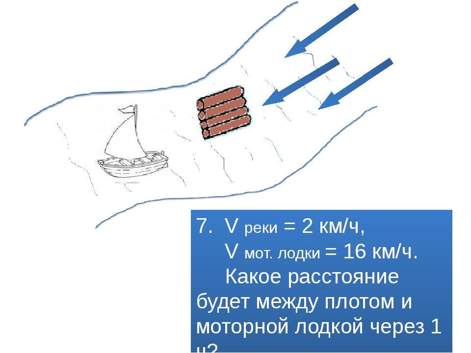 7. V реки = 2 км/ч, V мот. лодки = 16 км/ч. Какое расстояние будет между пло...