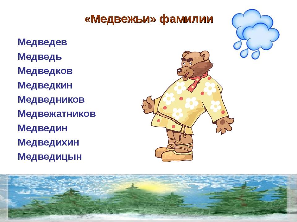 «Медвежьи» фамилии Медведев Медведь Медведков Медведкин Медведников Медвежатн...