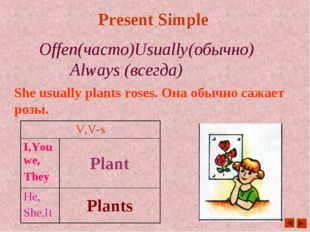Present Simple Offen(часто)Usually(обычно)		Always (всегда) She usually plant