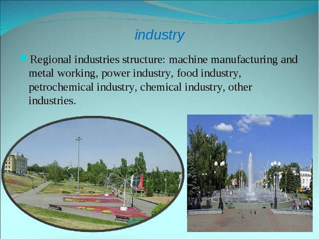 industry Regional industries structure: machine manufacturing and metal worki...