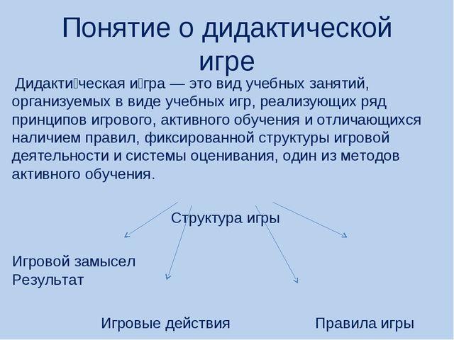 Понятие о дидактической игре Дидакти́ческая и́гра — это вид учебных занятий,...