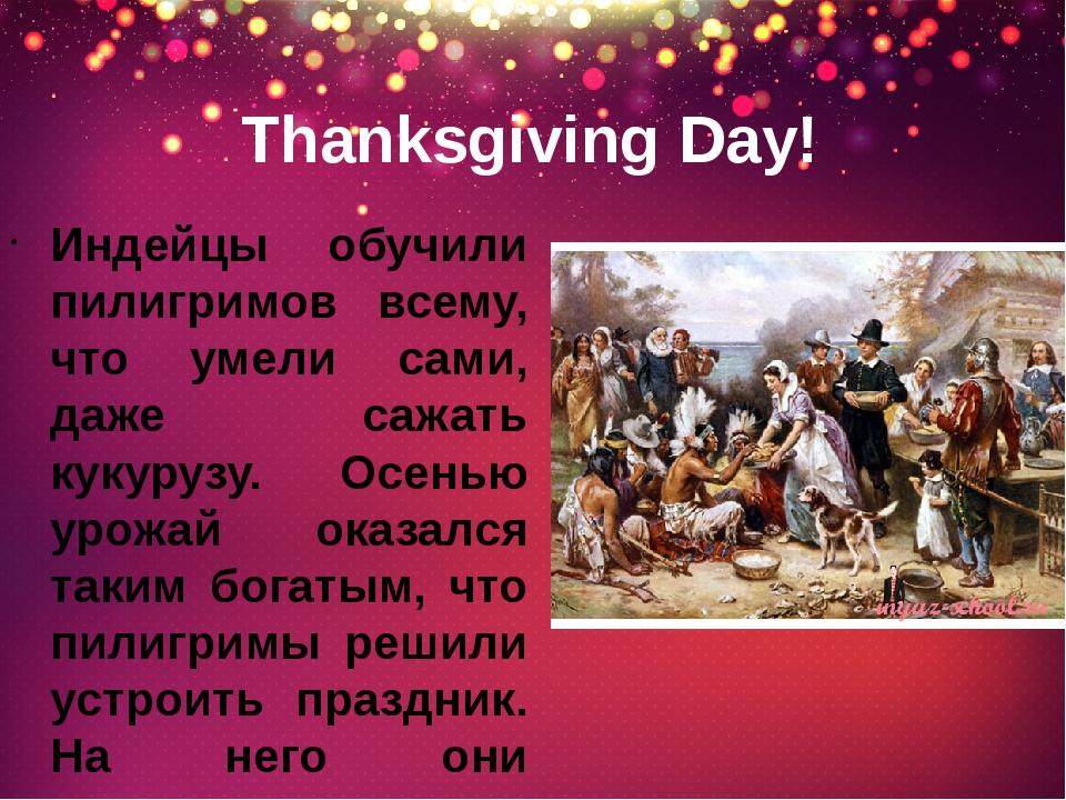 Thanksgiving Day! Индейцы обучили пилигримов всему, что умели сами, даже сажа...