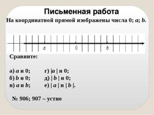 Письменная работа На координатной прямой изображены числа 0; а; b. Сравните: