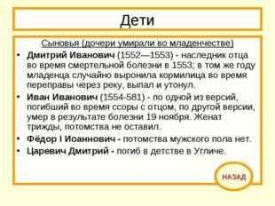 Дети Сыновья (дочери умирали во младенчестве) Дмитрий Иванович (1552—1553) -