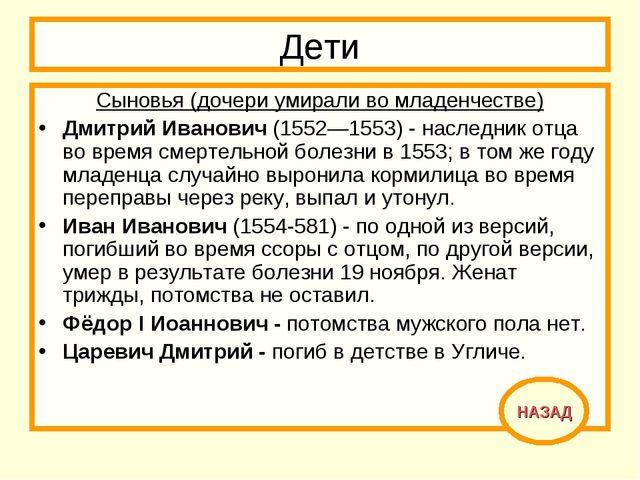 Дети Сыновья (дочери умирали во младенчестве) Дмитрий Иванович (1552—1553) -...