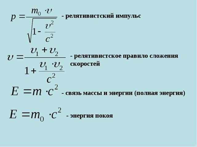 - релятивистский импульс - релятивистское правило сложения скоростей - связь...