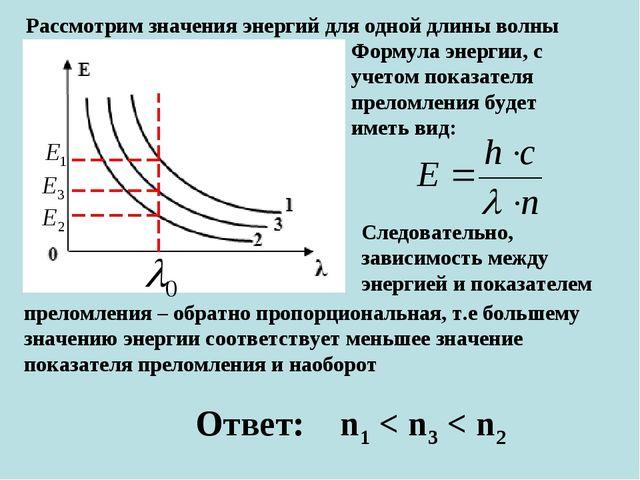 Рассмотрим значения энергий для одной длины волны Формула энергии, с учетом п...