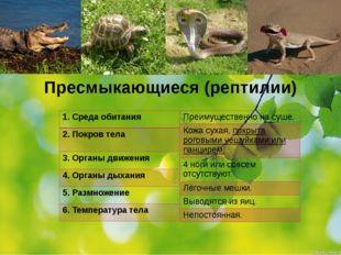 Пресмыкающиеся (рептилии) 1.Среда обитания 2. Покров тела 3. Органы движения